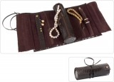 Beco Jewelry Roll Claire, glossy dark brown (mat satin brown interior)