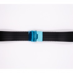 Rubber Bonflair strap, black, with silver stainless steel deployant