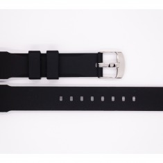 Rubber Bonflair strap, black, with silver stainless steel buckle