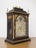 Iohann Christian Toulp cabinet/table/fireplace clock, matte dark brown