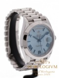 Rolex Day-Date 40 Platinum Ice Blue Roman Dial watch, silver